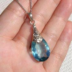 Stunning Blue Topaz Sterling Silver Vintage Pendant