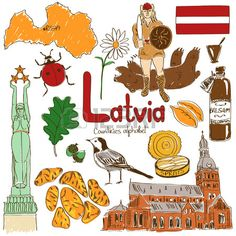 Fun colorful sketch collection of Latvia icons countries alphabet Stock Vector
