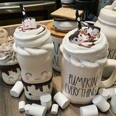 Hot Chocolate Coffee, Hot Chocolate Bars, Fake Cupcakes, Fake Cake, Cute Coffee Mugs, Coffee Love, Farmhouse Christmas Decor, Rustic Christmas, Cookie Sheet Crafts