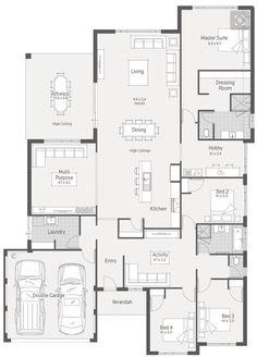 Goulburn dale alcock homes modern house plans, dream house plans, house flo New House Plans, Dream House Plans, Modern House Plans, House Floor Plans, The Plan, How To Plan, Home Design Floor Plans, Dream Home Design, House Design