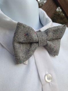 Dapper Little Guy Bowtie Grey Wool by BerlynnDesigns on Etsy, $12.00