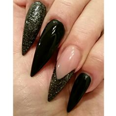My nails. Made by Cynthia from Magnificent Nails Arnhem #stiletto #stilettos #stilettonails #nails #blacknails #black #nailart #glitter #glitternails #naildesign #MagnificentNails  #Arnhem #nagels #stilettonagels #bitch #pointy #puntnagels #reallongnails #realstilettos #longnails
