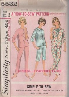 63f569a16f Simplicity 5532 Vintage 60 s Sewing Pattern DANDY Easy to Sew VLV Gidget  Sleepover Pajamas