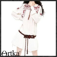 Artka Spring Ethnic Embroidery Breathable Linen Long Blouse SA10230Q White