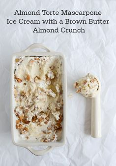 Surprise your family with a unique and delicious dessert recipe like this Almond Torte Mascarpone Ice Cream with a Brown Butter Almond Crunch. This dreamy, sweet treat is great alone or served atop your favorite brownie.