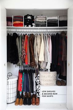 closet makeover, add second level and sweater dividers!