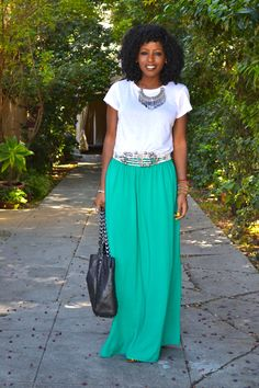 Oversized Shirt with olive maxi skirt | Styles Worth The Splurge ...