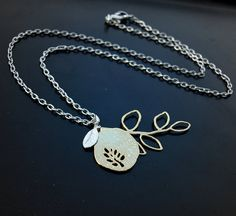 Gold Branches with Leaves Pendant Necklace by LoveDesignsBoutique