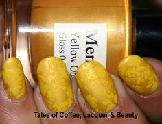 Yellow nails for #31dc2014! Julep Dawn stamped with Mentality Yellow Opaque and Vivid Lacquer 28! http://talesofcoffeelacquerandbeauty.blogspot.in/2014/09/yellow-nails-for-31dc2014.html