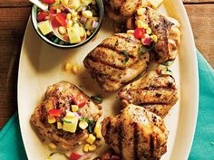 Grilled Chicken Thighs with Pineapple, Corn, and Bell Pepper Relish | Maintaining a healthy weight or trying to lose a few pounds ultimately revolves around the science of counting calories. It's a tedious task to tabulate every morsel you put in your mouth, but there's a simpler and much more flexible strategy: Start a file of skinny recipes. Use this collection of low-calorie dinners as a starting point. As always, taste comes first, so we've pulled together our best recipes that are big…
