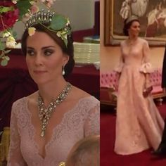 "12.8k Likes, 228 Comments - Catherine Duchess Of Cambridge (@katemidleton) on Instagram: ""The Duchess looked like a true princess in a bespoke pink Marchesa gown at tonight's state banquet.…"""