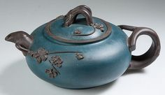 CHINESE YIXING ZISHA CLAY ARTISTIC DARK-BROWN AND TEAL-BLUE TEAPOT AND COVER Teapots And Cups, Ceramic Teapots, Yixing Teapot, Tea Culture, Ceramic Tableware, Chinese Tea, Tea Art, Tea Ceremony, Sculpture