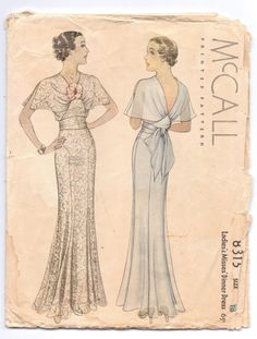Dinner dress pattern. 1930's  8315 mccalls