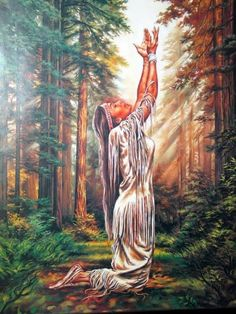 Indian Maiden Praying in the Woods Native American Art Print Poster Native American Prayers, Native American Spirituality, Native American Wisdom, Native American Women, American Indian Art, Native American History, Native American Indians, Native American Paintings, Native American Pictures