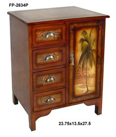 Cheungs Rattan Wooden Cabinet with One Door and Palm Tree Design