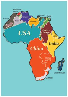 The size of Africa, being in the center of the world map, often is distorted to its disadvantage. Greenland, Alaska and Siberia look huge, Africa just looks big. How big really is it? As you can se. E Mc2, World Geography, Black History Facts, Historical Maps, African American History, World History, African Art, Fun Facts, Knowledge