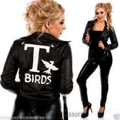 I97-Grease-Sandy-T-Birds-Black-Womens-Jacket-Lady-50s-Costume-Frenchie-Rizzo