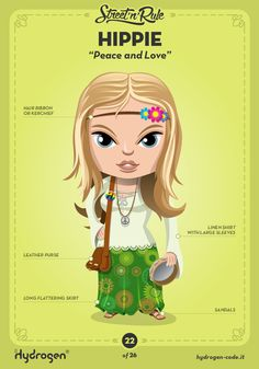 Hippie female Character by Hydrogen