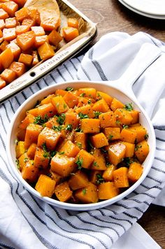 Soy Garlic Roasted Butternut Squash - Creamy roasted squash that is quickly tossed and marinated in a delicious garlic, soy and chili sauce before roasting.