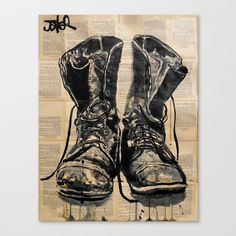 these+old+boots+Stretched+Canvas+by+LouiJoverArt+-+$85.00