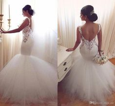 Vintage Mermaid Wedding Dresses 2016 Low Back Sexy V Neck Lace Appliques Backless Wedding Gowns Tulle Sweep Train White Beach Bridal Dress Designer Gown Different Wedding Dresses From Click_me, $157.91| Dhgate.Com
