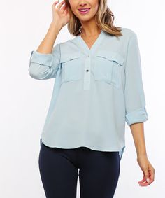 Another great find on #zulily! Blue Roll-Tab Button-Front Top #zulilyfinds