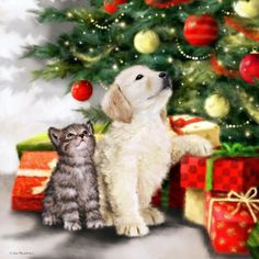 Dog Christmas Pictures, Holiday Pictures, Christmas Animals, Christmas Images, Christmas Cats, Xmas Drawing, Christmas Drawing, Christmas Paintings, Winter Christmas Scenes