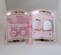 bookatrix handmade birth of baby girl/boy card,plastic stand & box Baby Girl Cards, New Baby Cards, Baby Scrapbook, Scrapbook Cards, Card Making Inspiration, Making Ideas, Chloes Creative Cards, Heartfelt Creations Cards, Card Book