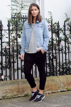 NORMCORE (Harper & Harley), casual wear, sneakers, laidback look, denim jacket Look Fashion, Fashion Outfits, Womens Fashion, Fashion Trends, Normcore Fashion, Fashion Guide, Fashion Bloggers, Nike Outfits, Casual Outfits
