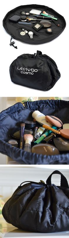 Lay-N-Go Cosmetic Bag // lays flat so you can see your gear, then simply pull the string to pack up and go! Perfect for travelling! #product_design