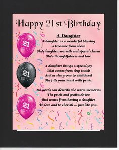 PERSONALISED DAUGHTER POEM MOUNTED 21st BIRTHDAY DESIGN On Offer Here Is This Wonderful Poem About