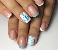 Anchor nails, Blue and white nails, Julynails, Manicure by summer dress, Nautical nails, Navy french manicure, ring finger nails, Sea nails