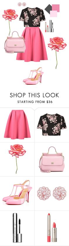 """""""A pink pretty outfit"""" by fashiongeekro ❤ liked on Polyvore featuring WithChic, Jonathan Saunders, Universal Lighting and Decor, Dolce&Gabbana, PAM, Emilio!, By Terry and Ilia"""
