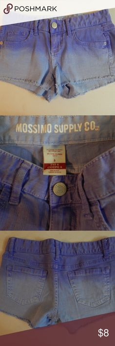 Mossimo Size 5 (Fit 6) Purple Denim Cutoff Shorts Here is a cute pair of pre-owned purple dip-dye cutoff denim shorts from Mossimo.  They are a junior's size 5 (Fit 6).  They have 5 pockets, and zip and button in front.  The waist measures 26 inches, and the inseam is 2 inches.  They are 98% cotton and 2% spandex, made in Egypt. Mossimo Supply Co. Shorts Jean Shorts
