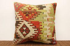 Organic kilim pillow cover 16 x 16 Art deco by kilimwarehouse, $51.00