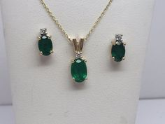 14K YELLOW GOLD GENUINE COLUMBIAN EMERALD PENDANT AND EARRING SET