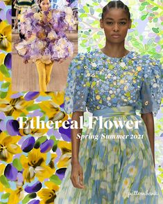 Dreamy florals painted in an impressionist style with soft watercolour paints and bright hues for Spring/Summer EXPLORE THE TREND STORY trends Spring/Summer 2021 Print & Pattern Trend – Ethereal Flower Spring Fashion Trends, Fashion Week, Spring Summer Fashion, Party Fashion, Fashion Tape, Spring Summer Trends, Fashion Fashion, Estilo Floral, Casual Summer Dresses