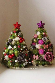 Two Cute Christmas Trees Cute Christmas Tree, Christmas Store, Felt Christmas, Handmade Christmas Decorations, Xmas Decorations, Mery Crismas, Christmas Tree Ornaments, Christmas Wreaths, Ideias Diy