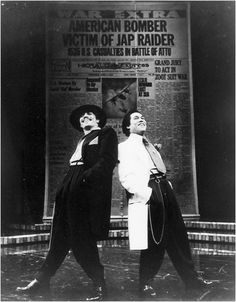 Edward James Olmos as El Pachuco and Daniel Valdez as Henry Reyna, Mark Taper Forum, 1978 . (Courtesy of Mark Taper Forum)