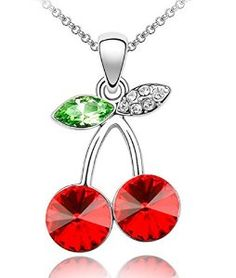 Cherry Necklace with Swarovski Crystals In Red with Silver Finish. Crystal main stone use swarovski element crystal. All uses the manual polishing technology. 18 k gold electroplating, environmental protection is not easy to fade. It appears a luxurious look.  Price:$16.99 & FREE Shipping