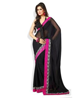 Floral and Stripe Border Saree in Chiffon Material in Black and Pink Color