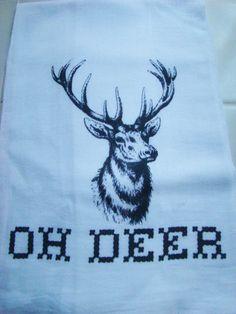Tea towel Big Buck - OH DEER - Funny kitchen towel -Flour sack dish towel- super cute