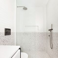 Minimalist and contemporary bathroom using terrazzo tile and small white square mosaic. White Bathroom Tiles, Laundry In Bathroom, Bathroom Goals, Bathroom Flooring, Modern Bathroom, Small Bathroom, Bathroom Renovations, Bathroom Renos, Terrazzo Tile