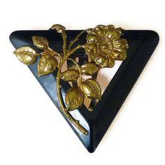 Bakelite Clip, Scarf Clip, Dress Clip, Black, Gold Tone, Flower Floral, Vintage Jewelry