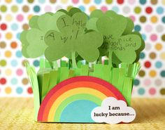 "Best Saint Patricks Food and Crafts 12 ""I am lucky because...."" shamrock garden for St. Patrick's Day holiday"