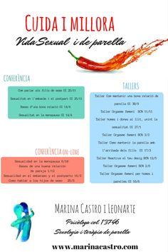 Nova programació de tallers i conferències!!! Inscripcions a partir del 15 d'agost!!!http://www.marinacastro.com/cuida-millora-teva-vida-sexual-parella-curs-20172018/