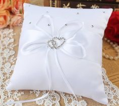 FREE SHIPPING - Satin Ring Pillow with Rhinestone - Double Heart Brooch - Wedding Supplies - Bridal Shop