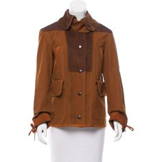 Pre-owned Coach Corduroy-Paneled Lightweight Jacket ($225) ❤ liked on Polyvore featuring outerwear, jackets, brown, light weight jacket, multi-color leather jackets, lightweight jacket, cordoroy jacket and brown jacket