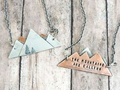 The Mountains are Calling Necklace - John Muir Quote - Reversible Mixed Metal Mountain Range - Nature Jewelry - Gift for Hiker - Climber by ATwistOfWhimsy on Etsy https://www.etsy.com/listing/482825497/the-mountains-are-calling-necklace-john