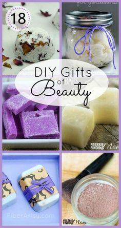 18 DIY Gifts of Beauty - Lots of Homemade Beauty Recipe s.a. Body Scrubs, Bath Salts and Lotion Bars http://FiberArtsy.com